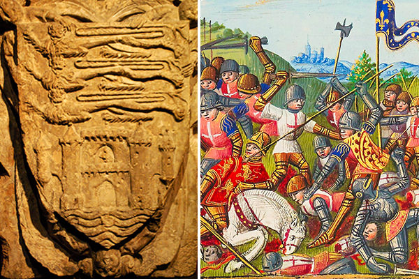 The arms of the city of Bordeaux under English rule (left) - The death of John Talbot, Earl of Shrewsbury at the battle of Castillon 1453 (right) ending English rule