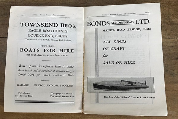 A Bonds advertisement in the Salters' Thames Guide