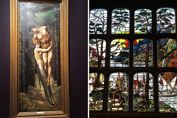 The Depths of the Sea, watercolour by Burne-Jones 1887 (left) - Stained glass in Lord Astor's London house (right)