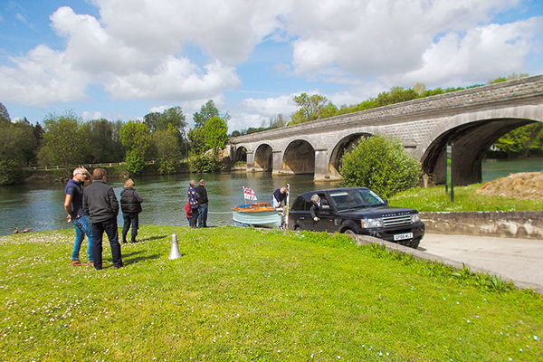 "Launch on the river Charente for the new owner Jim's first skipper experience at the helm of ""Dragonfly"" at bridge on the charente river."