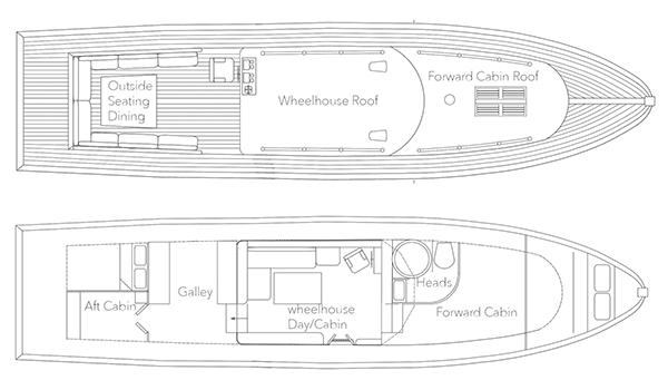 """Rendering of """"Elizabeth Green"""" 43ft 1935 Dunkirk Little Ship pending restoration."""