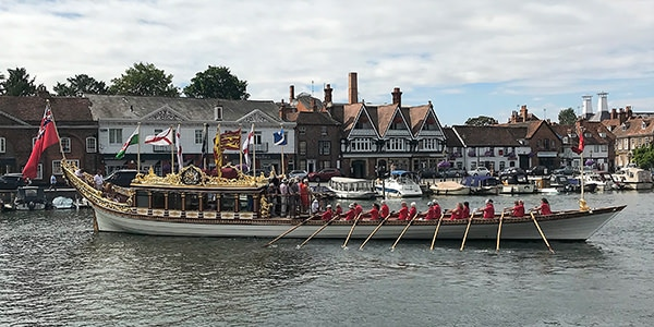 """The Queen's Row Barge """"Gloriana"""" was rowed each day of the Thames Traditional Boat Festival."""