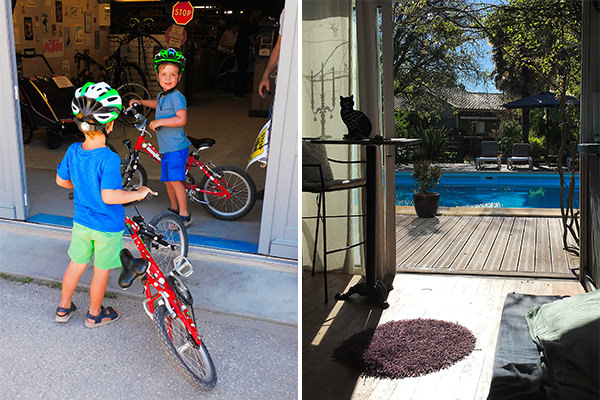 Our grandsons geared up for a bicycle ride (left) - The view from our home-away-from-home for the week (right)