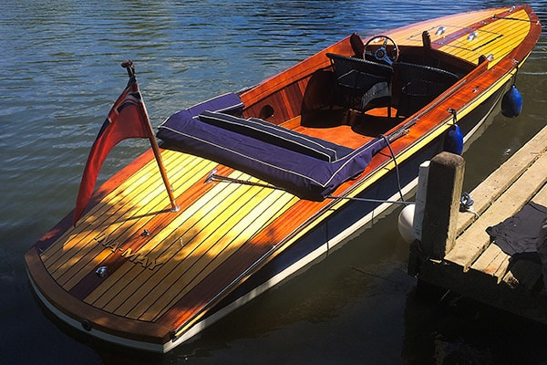 """Ina May"" - A refurbished Andrews slipper stern / greyhound launch - is for sale as well."