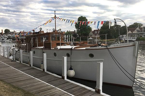 """""""Karaboudjan"""" moored near the Leander rowing club"""