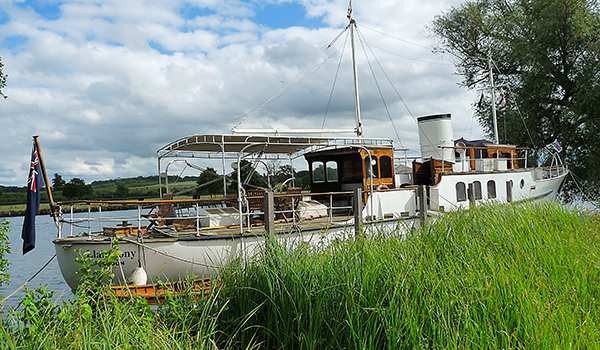 """""""Llanthony"""" moored upstream from Henley Business School"""