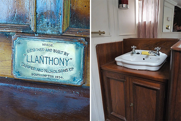 """Llanthony""'s plaque and vintage interior"