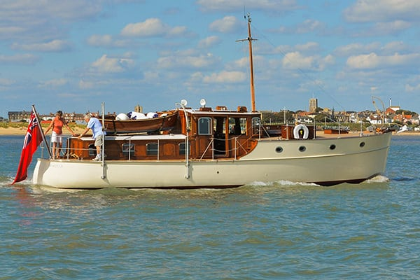 """Magyar"" - a splendid Saunders Roe rebuilt by Harbour Marine Services at Suffolk Yacht Harbour in Southwold, owned and operated by John Burgess."