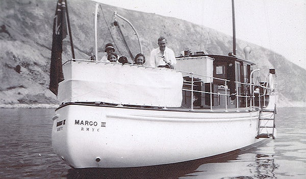 """""""Margo III"""" off the Mediterranean coast in the mid 1930s with her original owners on board."""