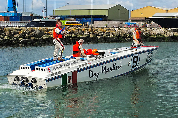 A Martini sponsored racing boat in Poole harbour.