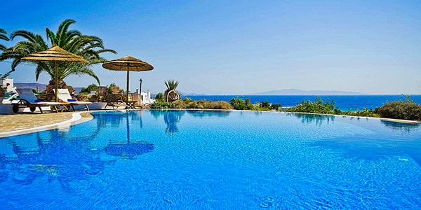 Pool side at Kavos Boutique Hotel Naxos.