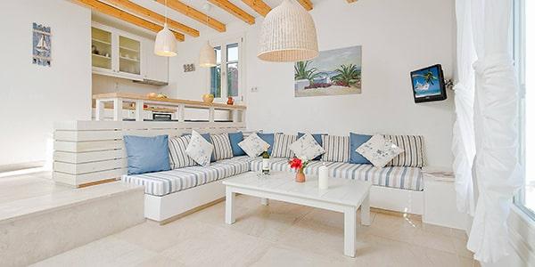 Villa interior at Kavos Boutique Hotel Naxos.