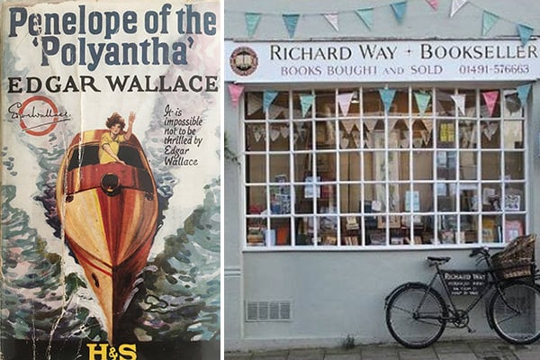 """The cover of """"Penelope of the Polyantha"""" (left) and Way's bookshop store front (right)"""