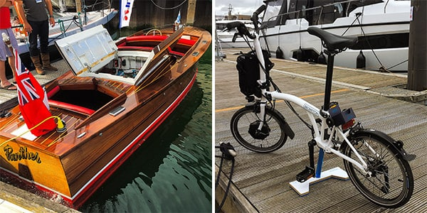 One of the few wooden boats at the show (left) - My handy Brompton Electric bike (right)