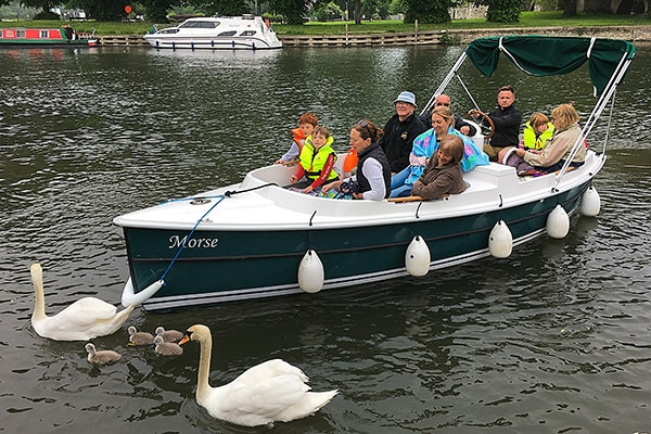 This lovely family had a great time on the river in one of PureBoating's self drive electric boats.