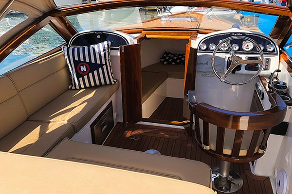 The cabin underneath the raised foredeck boasts sleeping accommodation and a toilet.