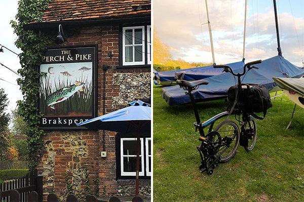 "South Stoke pub ""The Perch & Pike"" (left) - Brompton electric folding bike (right)"