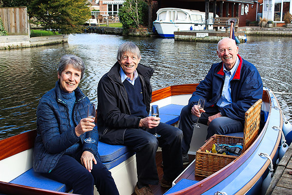 The Days on their acceptance trial on the Broads with company director Anthony Landamore.