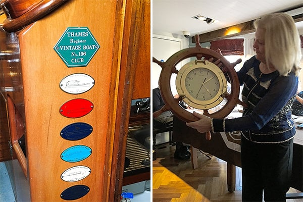 Thames Vintage Boat Club plaques on a boat (left) - Jane Percival, editor of The Boater magazine, receiving an award (right)