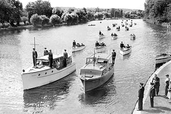 Rear Admiral Sir Brooke taking the salute at Wargrave as he inspects boats from the UTP in April 1940.