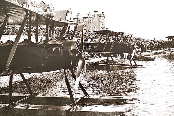 """My 1920 Avro 504 (centre one) G-EASD at Eastbourne, summer 1920. Guess who built the floats?"""