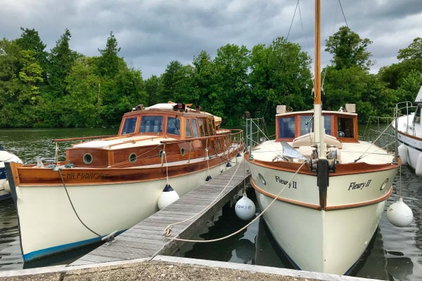 """""""Fleury II"""" berthed on the Thames near Marlow."""