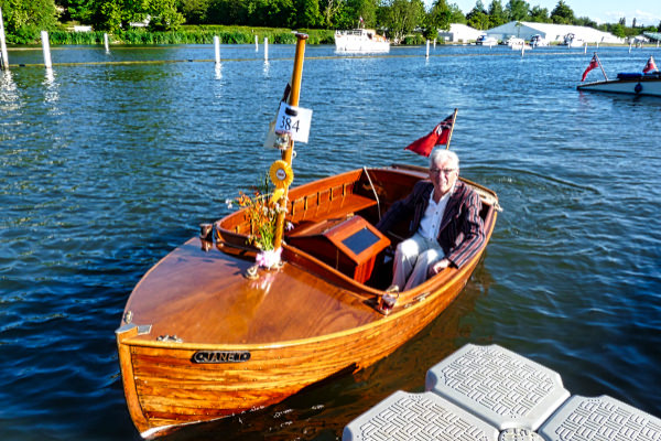 """""""Janet"""" with the now president of the Thames Vintage Boat Club at the 2015 TTBF"""