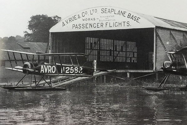 The seaplane shed constructed by A. V. Roe on Borwicks' ground at Windermere.