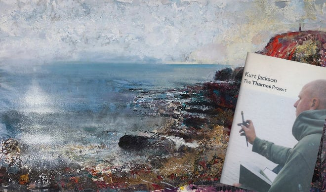 'On Black Rock' by Kurt Jackson and his book 'The Thames Project' (inset)