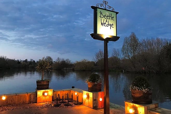 "The cosy outdoors at ""The Beetle & Wedge"" in Moulsford."