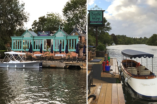 "The Beetle & Wedge riverfront (left) and our beloved ""Sapphire Rose"" ready for hire (right)"