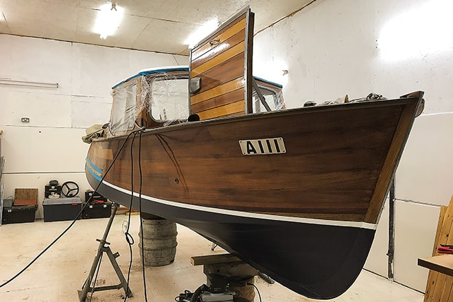"""Babymore"" awaiting her new solid mahogany dash."