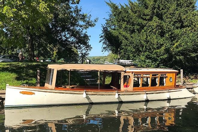 """Evensong"" on her mooring in Henley."
