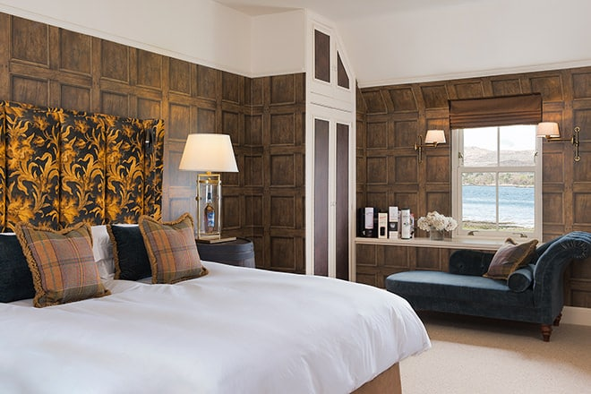One of the luxurious en suite bedrooms at Laudale House on the shores of Loch Sunart, Scotland.