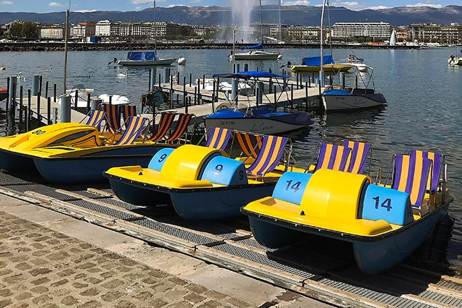 Les Corsaires' brightly striped pedalos
