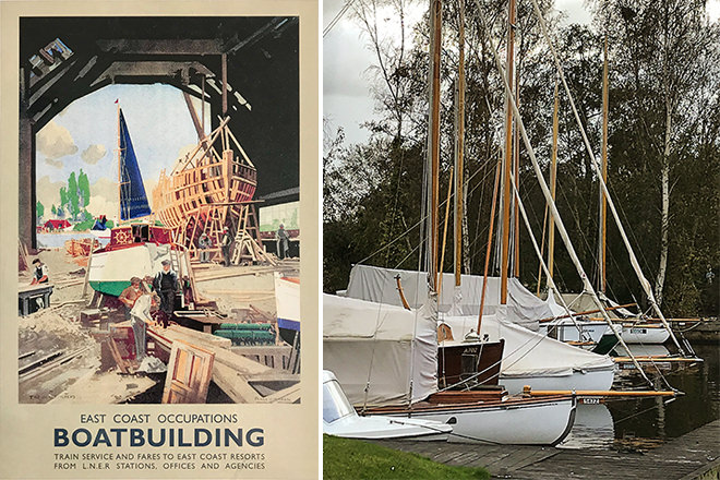 East Coast Boatbuilding - A promotional railway poster from 1947 by Frank Mason (left) - A wintry Broadland scene (right)