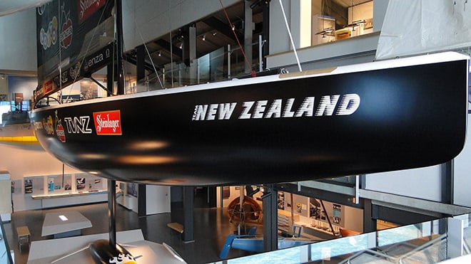 The Black Magic (NZL 32) on display at the National Maritime Museum, New Zealand in Auckland.