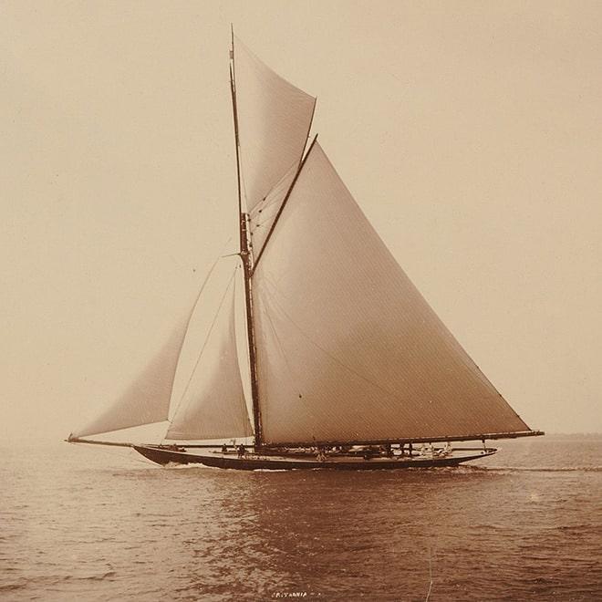 Prince Albert Edward's first-class rater Britannia (George Lennox Watson design, built in 1893 at the D&W Henderson shipyard).