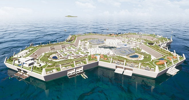 The Blue Estate is the world's first sustainable and floating offshore city.