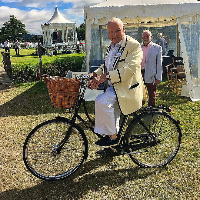 Bill Rose on his bike at the 2019 Thames Traditional Boat Festival.