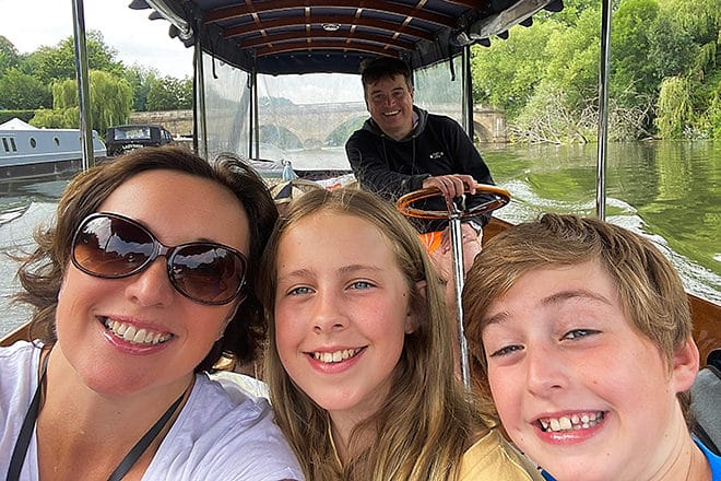 Gail and her family on one of our self-drive boats.