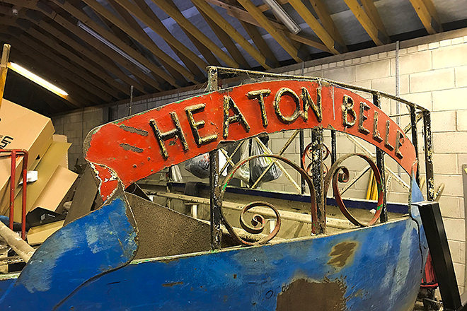 """Heaton Belle"" neglected in a dry boathouse."