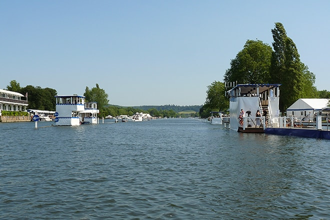 The River Thames set up and ready for the Henley Royal Regatta to begin.