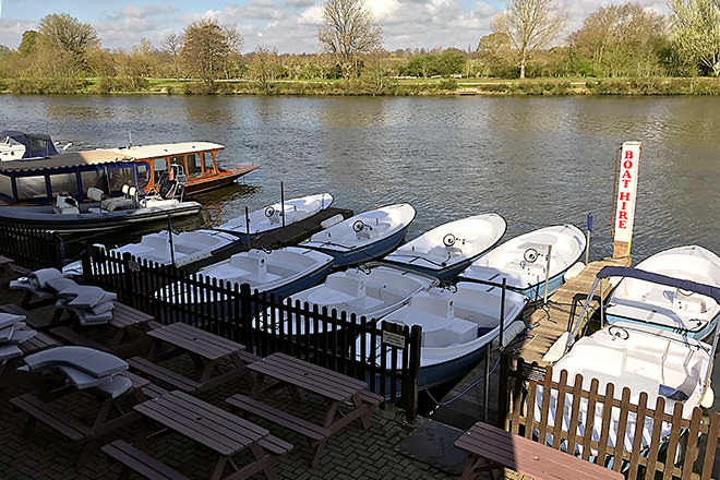 Boats and Boards in Kingston-on-Thames.