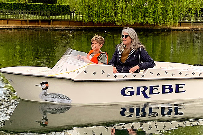 'Grebe' is one of 4 mini electrically powered boats we hire out on the inner boating lake at Beale Wildlife Park.