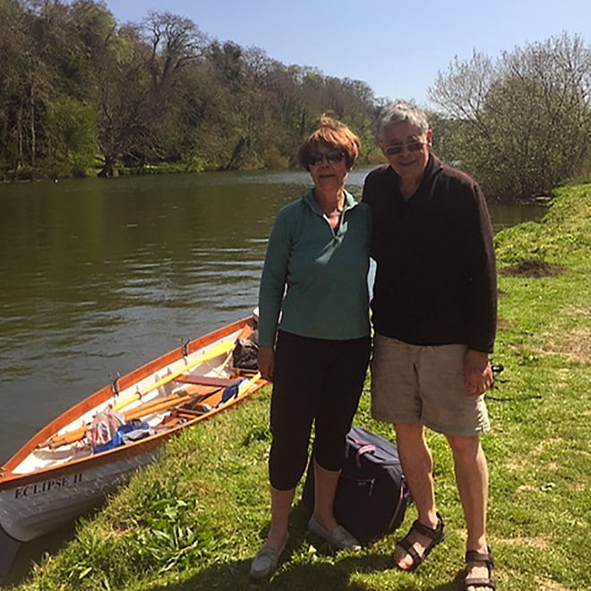 The Powells enjoying a lovely day out on their skiff.
